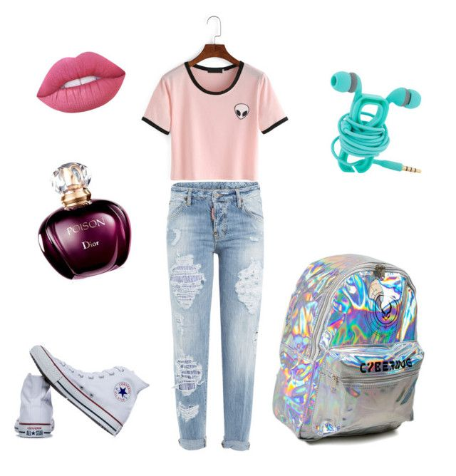 cool by ellalidiar on Polyvore featuring polyvore fashion style Dsquared2 Converse Lime Crime clothing