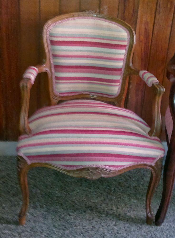 Sill n estilo luis xv tapizado a gusto del cliente en - Tapiceria de sillas ...