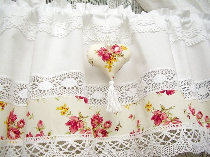 Shabby chic Landhaus Gardine Rose vintage weiß 237 | Shabby chic