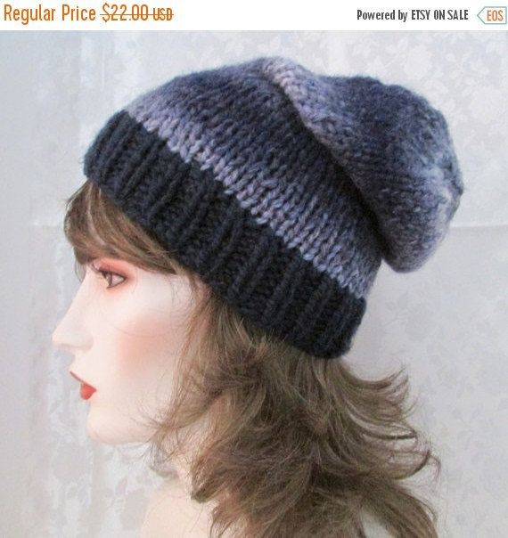 Christmas sale Blue slouche hat, hand knit clouche hat, navy and multi blue skull cap, winter hat, bulky slouche hat, ladies hat, teen hat,