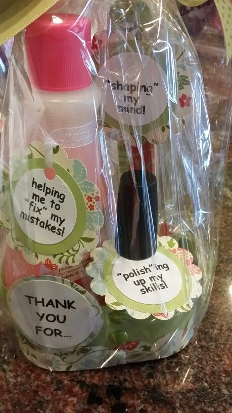 Teacher appreciation gift : polish,remover & file. #teacherappreciationgifts