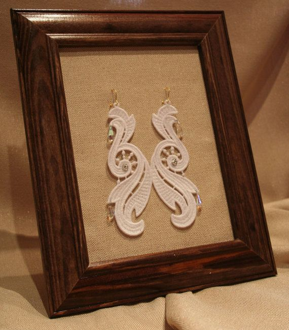 White Lace earrings for holyday.   All embroidered Lace Jewelry are designed and embroidery by me. In their lace jewelry I only use high quality lace motifs.  You can find in my store embroidered lace jewelry, earrings, braselets, watches, purses, belts etc. https://www.etsy.com/shop/LaceMotif