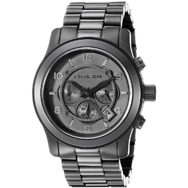 Michael Kors Men's Runway Watch (54 KWD) ❤ liked on Polyvore featuring men's fashion, men's jewelry, men's watches, nocolor, watches, mens leather strap watches, mens wide band watches, mens black face watches and michael kors mens watches