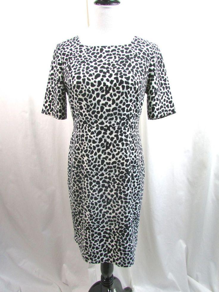 Talbots Leopard Animal Print Crepe Sheath Dress Career Size 8 Petite Excellent #Talbots #WeartoWork