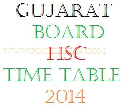 Gujarat Board HSC Exam Time Table 2014