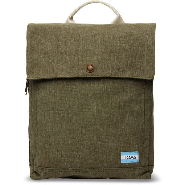 TOMS Olive Washed Canvas Trekker Backpack ($88) ❤ liked on Polyvore featuring bags, backpacks, green, laptop rucksack, olive green backpack, laptop backpack, army green backpack and green backpack