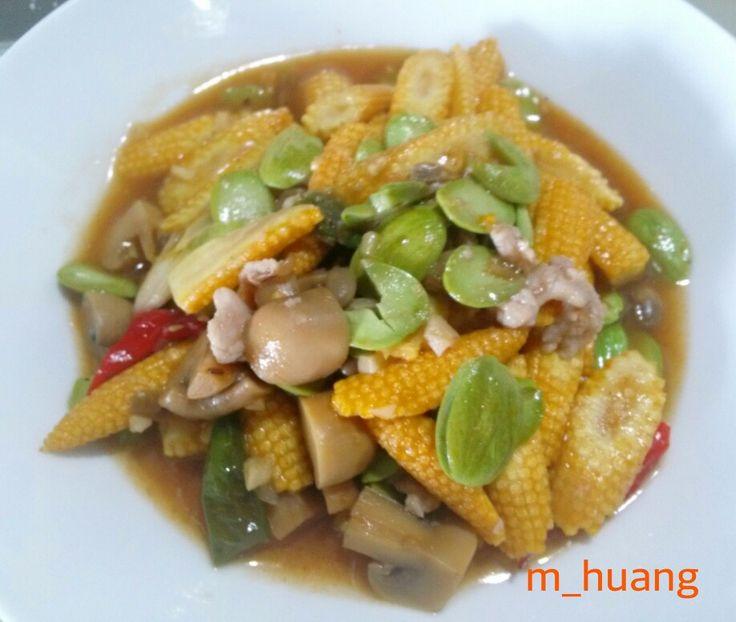 Jagung muda masak pete saus tauco #babycorn_with_beans_and_fermented_soybean_sauce