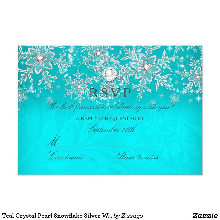 Teal Crystal Pearl Snowflake Silver Winter RSVP 3.5x5 Paper Invitation Card