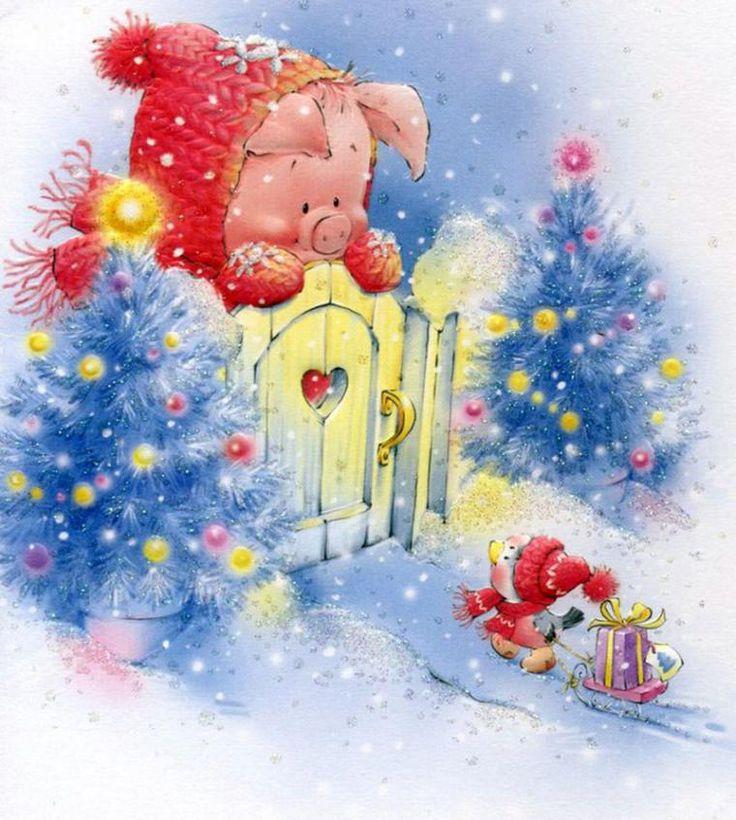 Новогодняя открытка с новым годом свиньи, изображением семьи для