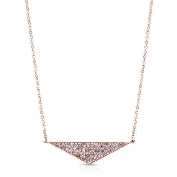 Anne Sisteron  14KT Rose Gold Diamond Golden Triangle Necklace (3.265 BRL) ❤ liked on Polyvore featuring jewelry, necklaces, rose, triangle necklaces, chains jewelry, diamond rose necklace, chain necklace and rose gold necklace
