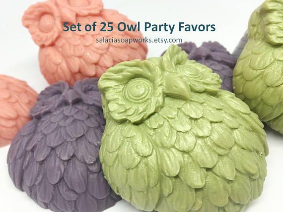 SET OF 25 OWL SOAP FAVORS  Owls represent wisdom, protection and tranquility. They are very popular in nursery room decor, baby showers, weddings, and as themes for birthday parties. This set of owl soaps is the perfect take away from any woodland themed party! Your guests will be talking about these soap party favors for months to come…