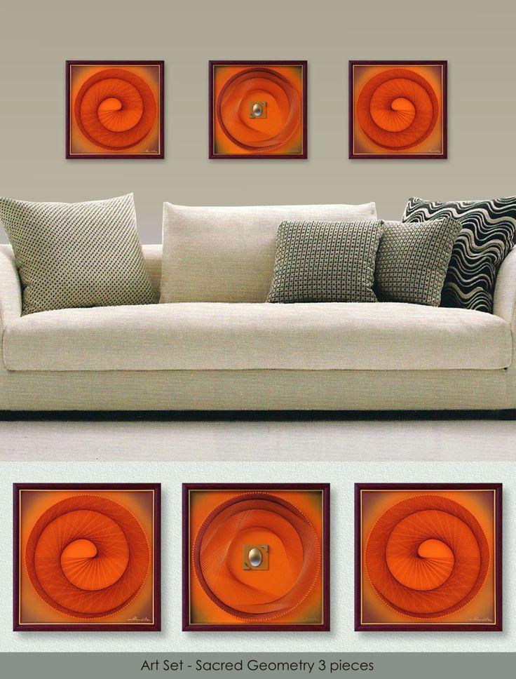 "Wall Decor, 3D Modern Abstract String Art, Orange, Geometriy, Framed Art Set, each 12,6""x12,6"" (32x32cm), ready to hang, from Suzana Športa - pinned by pin4etsy.com"