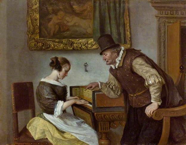 """""""The Harpsichord Lesson"""", c.1669. Jan Steen (1626–1679), Dutch painter. Collection: The Wallace Collection."""