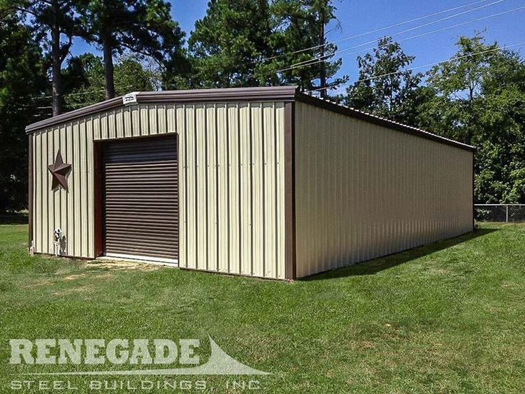 Tan Metal Building With Dark Brown Trim And Door Workshop