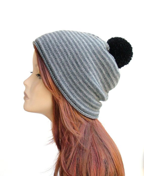 Soft merino wool pompom hat, women's lined winter beanie by Rukkola on Etsy. #womenspompomhat #womenswoolhat #pompombeanie
