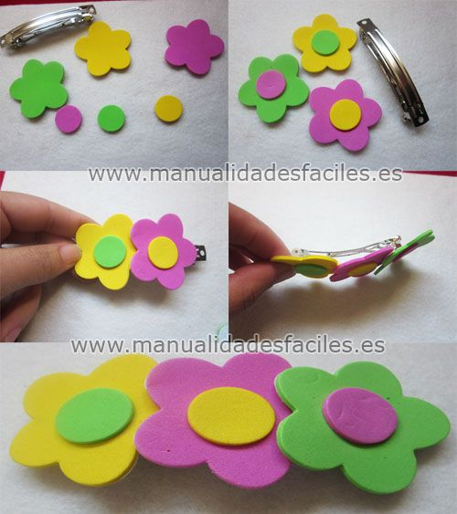 Necesitaremos:      -plantillas de goma evade colores y figuras variadas ( las venden por paquetes en tiendas de manualidades)      -pasadores para el cabello      -bases de anillos      -silicona