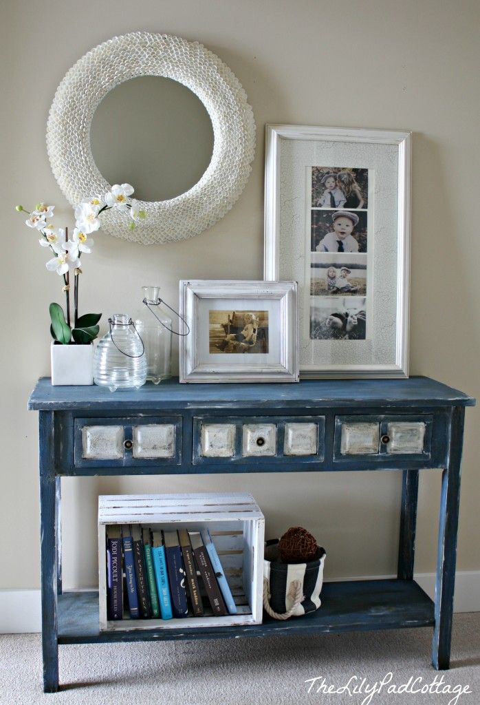 Hall table makeover - www.thelilypadcottage.com