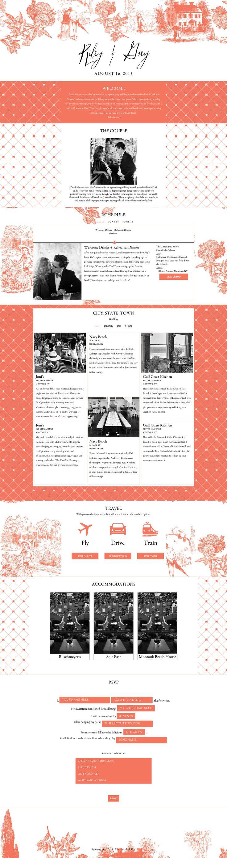 """toile"" wedding website design by Riley & Grey (graphic design, wedding planning, wedding website examples)"