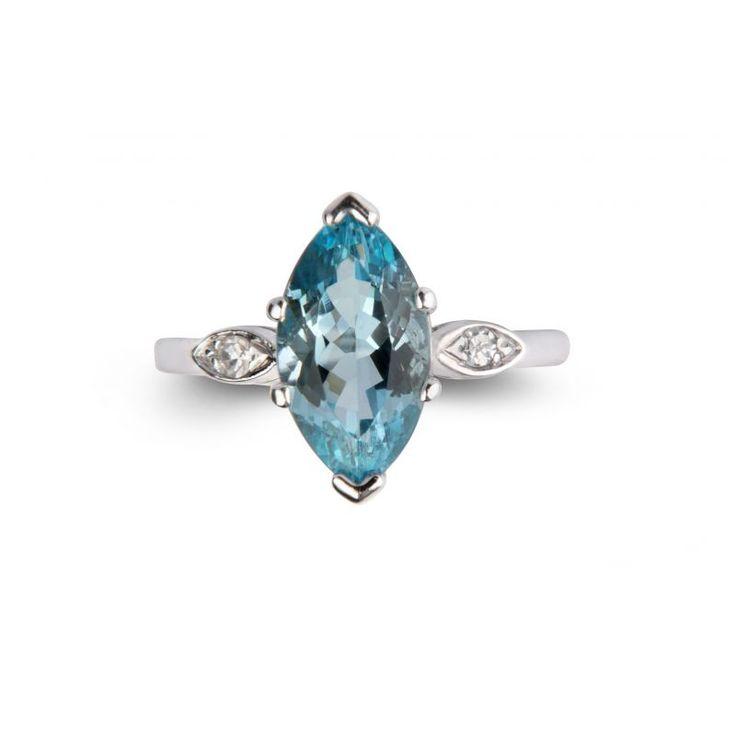 51122 Platinum Marquise Aquamarine And Diamond Ring