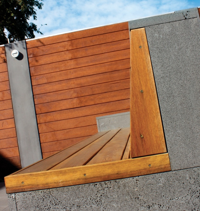 Detail of wall and seating designed for Melbourne garden  www.lisaellisgardens.com.au