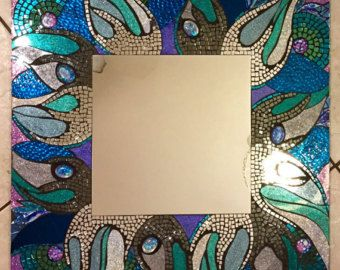Bord de mer 24 x 24 « Rogue Wave » grand vitrail mosaïque paillettes miroir du fait à la main plage vert bleu océan