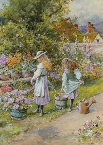 William Stephen Coleman (British, 1829-1904) Watering the garden