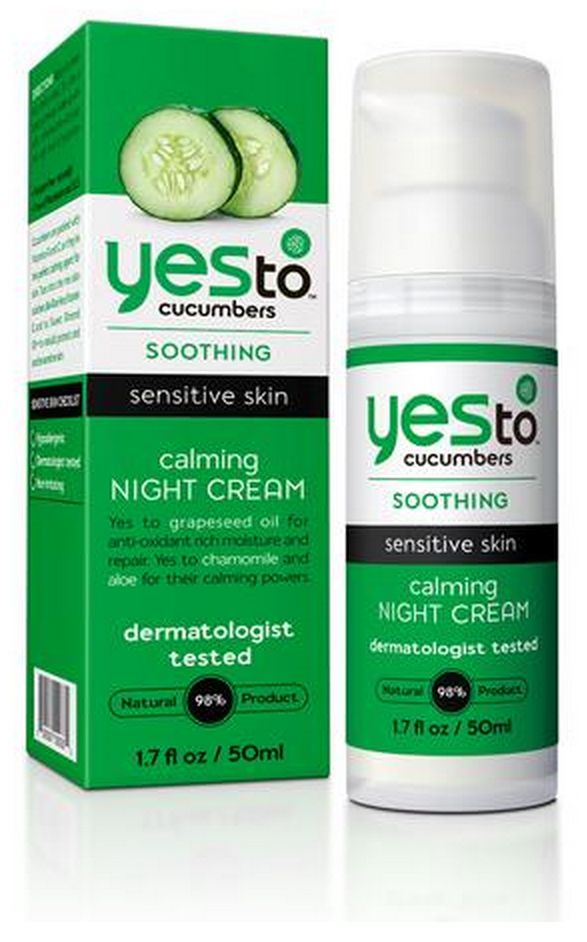 """Yes To Cucumbers Calming Night Cream (Vegan) (""""I've been using this for the last year or so. I like that it's in a pump, smells fresh, is affordable, and can be picked up at most good drugstores. Also gets a good review from cosmetic cop Paula Begoun."""" - Vegangela.com)"""