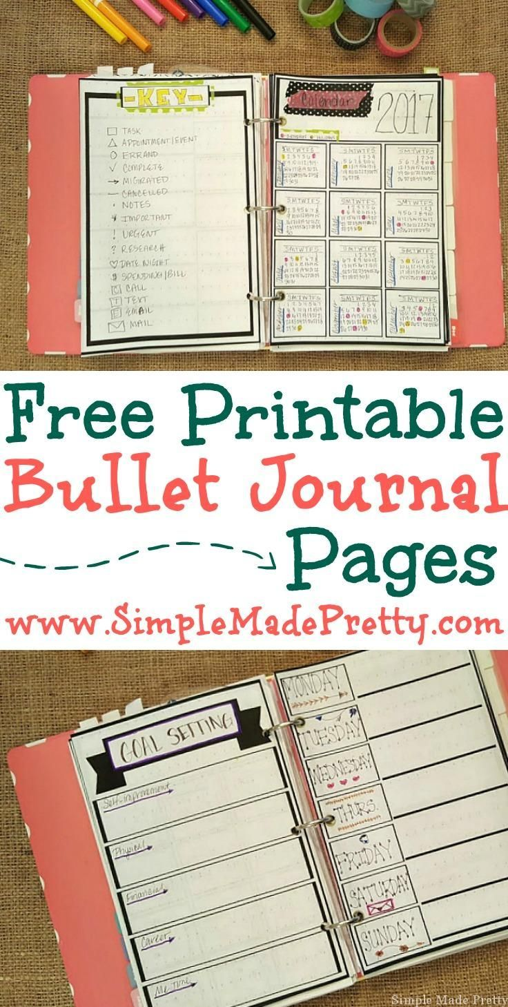 If you don't have a creative side but might want to try bullet journaling, check out these free printable bullet journal pages. Bullet journal, day planner, free printable planner, day planner pages, get organized