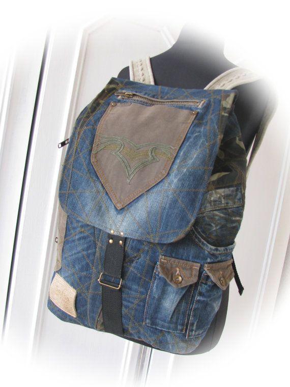 unisex denim backpack jeans backpackhandmade от klaptykart на Etsy