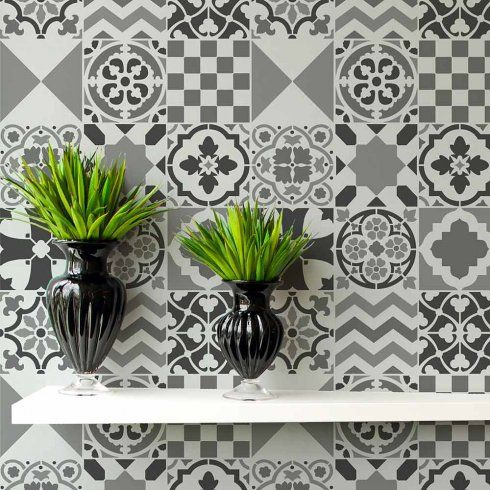 Cutting Edge Stencils - Patchwork Tiles Stencil Pattern