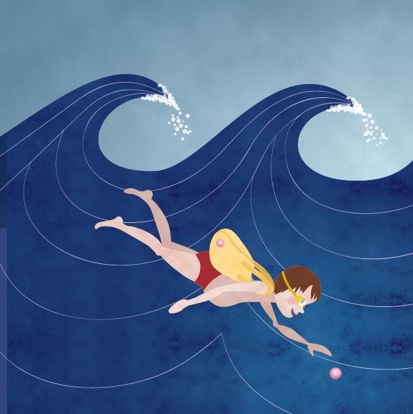 An illustration of a boy swimming in a sea