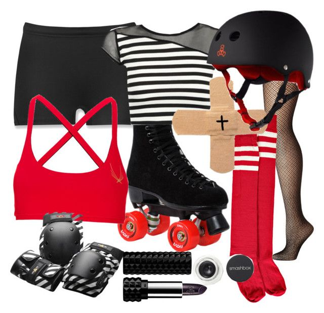 """Roller Derby"" by missgranger ❤ liked on Polyvore featuring The North Face, Hue, Boohoo, Lucas Hugh, Triple Eight, Kat Von D, Smashbox, women's clothing, women's fashion and women"
