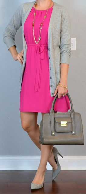 Outfit Posts: outfit post: hot pink dress, grey boyfriend cardigan, grey pointed pumps... But the dress in purple.