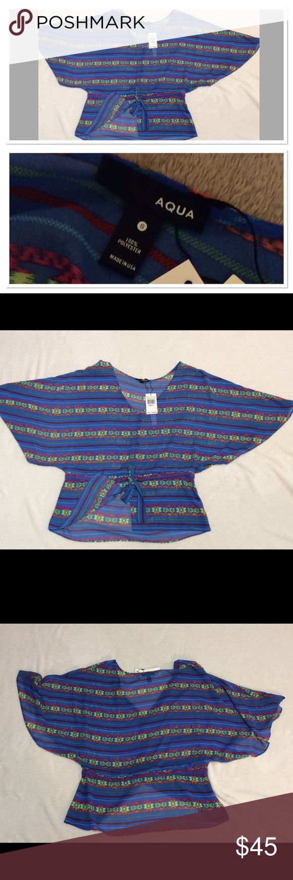 "S AQUA neon printed batwing top Brand: Aqua Style: batwing top Size: S Measurements: pit to pit 17.5""  shoulder to hem 25.5"" Material: 100% Polyester  Features: neon Aztec print, made in USA, tie waist Condition: NWT  New with tags Aqua Tops"