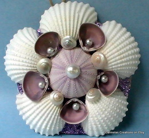 Beach Ornament in white and purple by CarmelasCreations on Etsy,