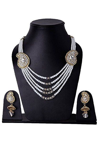 Indian Bollywood Gold Plated White Stone Pearls 5 Strand Necklace Jewelry Set