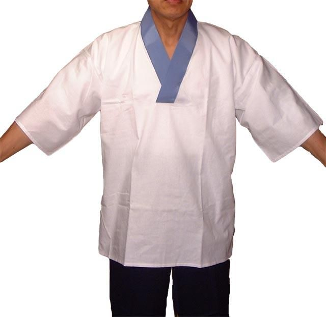 作務衣用下着 V衿Tシャツ型半襦袢肌着(かぶり型) 和さらし地 (男性・女性)白衿・青衿