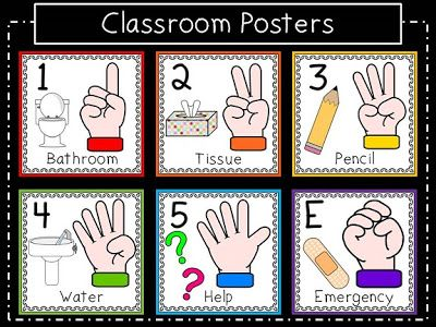 Classroom Hand Signals Pack with poster, shared reader, emergent readers and cut & paste activity