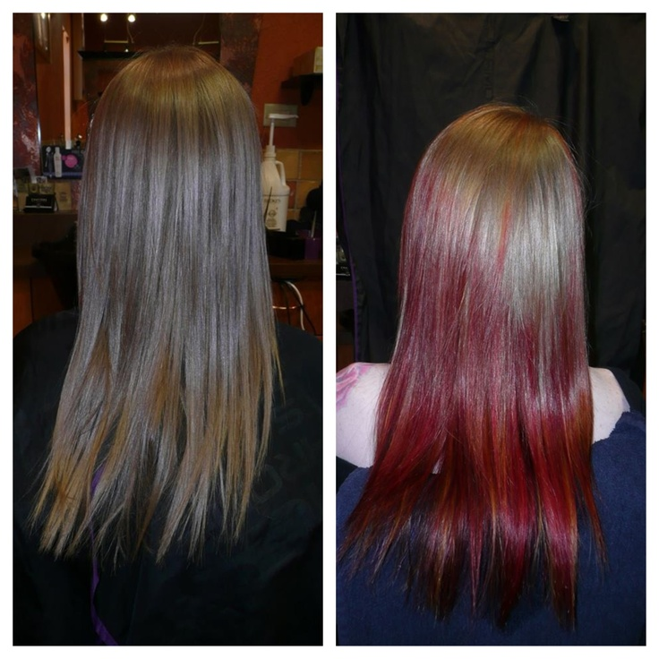 Before & after ; reverse red ombré  Done at Chatters Salon, Barrie ON, Canada ❤️☺️ #hair #ombre #mermaid #red #style
