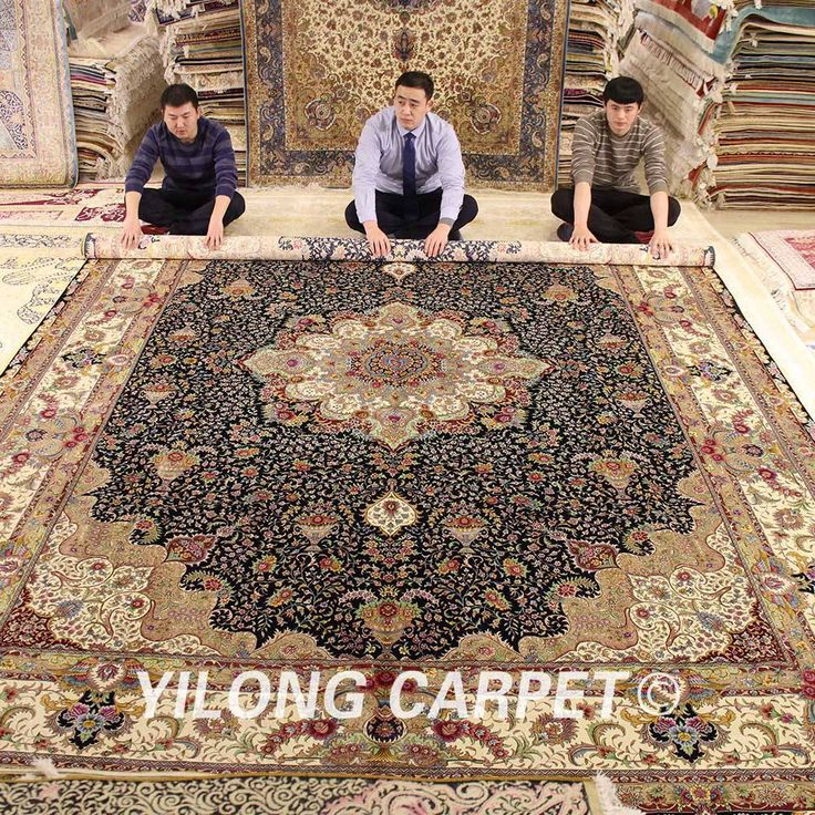 Yilong 10'x14′ Vantage tabriz silk rug large antique medallion iranian silk carpet (0346)