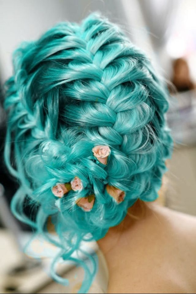 Teal Braided Hair with Roses