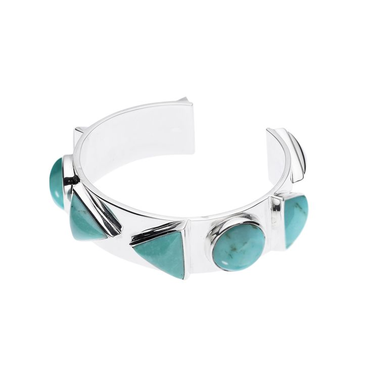 PUSHMATAAHA // SPEARHEAD NUBIAN CUFF in American Turquoise with 925 Sterling Silver