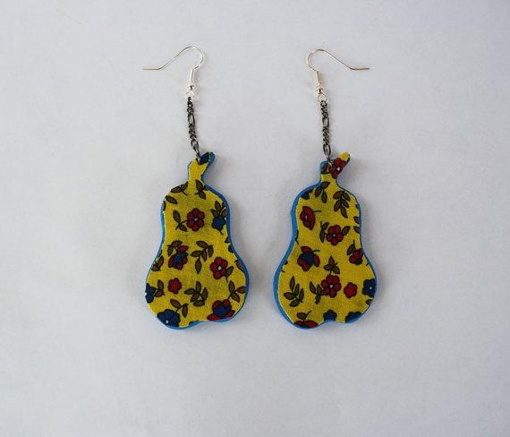 60's Fabric and Foam Pear Earrings by potsdamelf on Etsy, $15.0060 S Fabrics, 관한 아이디어, Pears Earrings, Foam Pears