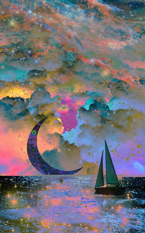 Moonset ~print by Starstuff on Society6 not sure if it's watercolor but that's what it reminds me of