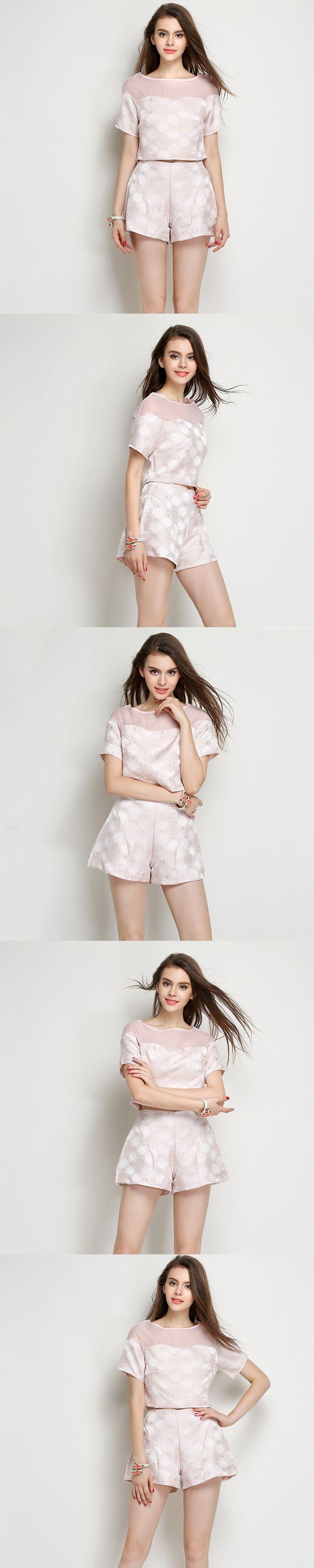 Elegant jacquard women 2 piece crop top pants sets 2015 New Summer Fashion Brand Short Sleeve Clothing Female trouser suit OM246