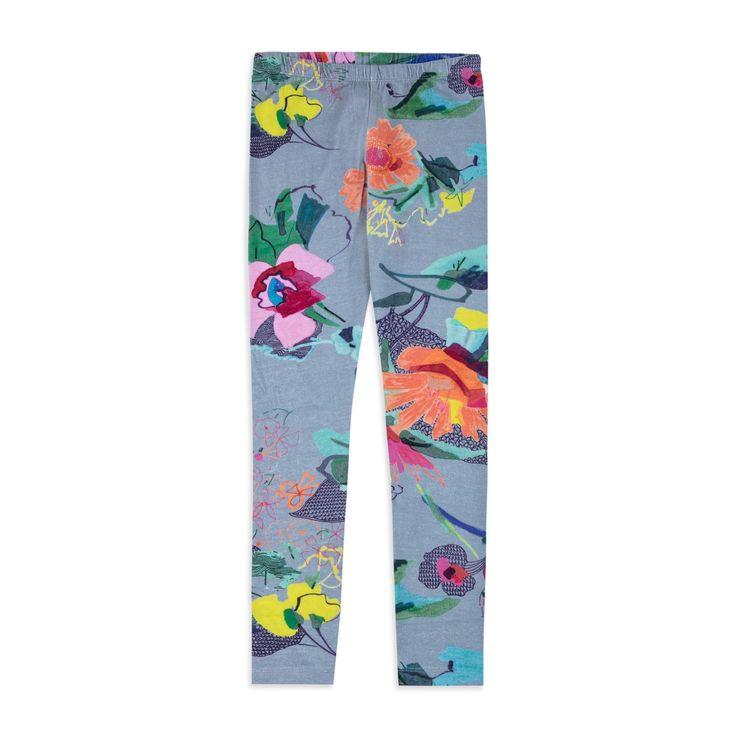 OILILY Girls Tiska Leggings - Blue From £31 Girls printed leggings • Soft stretchy cotton • Elasticated waistband • Long length design • Colourful floral print • Material: 95% Cotton, 5% Elastane