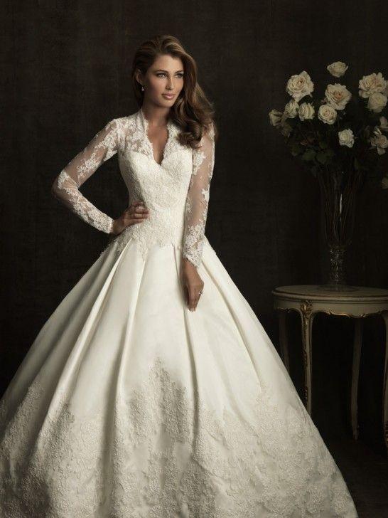Robe de mariée Dentelle Col en V Mode de bal Sheer Dentelled Mancherons AB8874