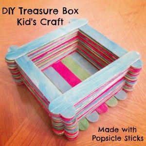 DIY Treasure Box Kid's Craft Made with Popsicle Sticks