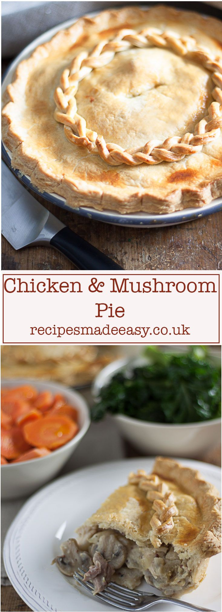This deep filled Chicken and Mushroom pie is quick to make and uses up leftover cooked chicken.  It makes a great family meal. via @jacdotbee