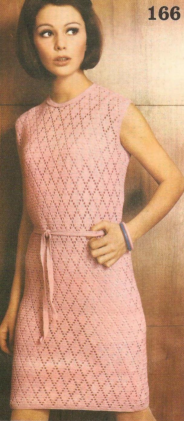 jurk om zelf te haken, vintage jurk, zelf maken, haakpatroon